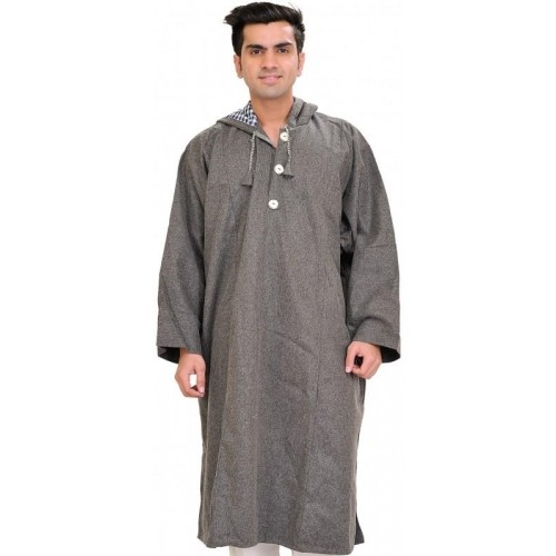 Steel Gray Pure Wool Phiran From Kashmir With Hood