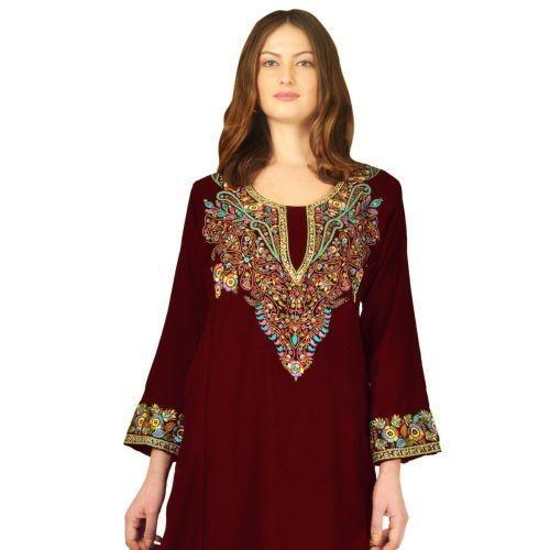 Maroon Pure Wool Phiran With Silk & Zari Thread Embroidery