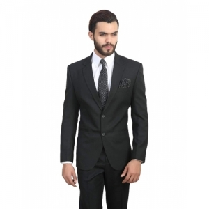 ManQ Black Notched Single Breasted Blazer