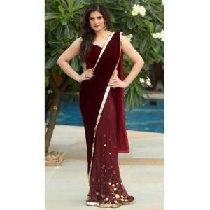 Zarine Khan Maroon Designer Velvet and Net Saree