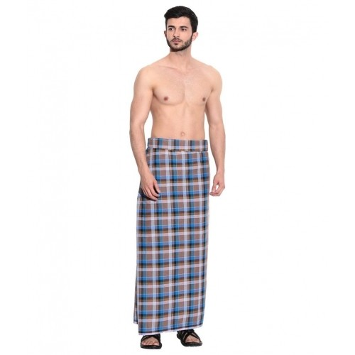 ATM Blue & Brown Classic Cotton Lungi