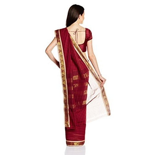 IndusDiva Maroon Madurai Pure Cotton Handloom Saree