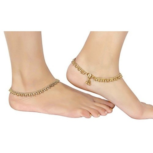 Muchmore Traditional Wear Gold Polished Polki Anklet