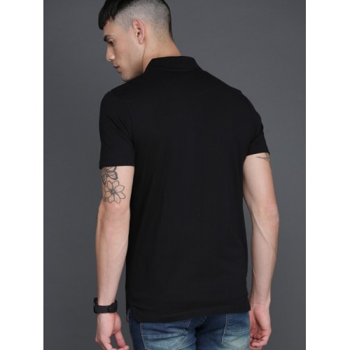 WROGN Black & Grey Striped Polo Collar T-Shirt