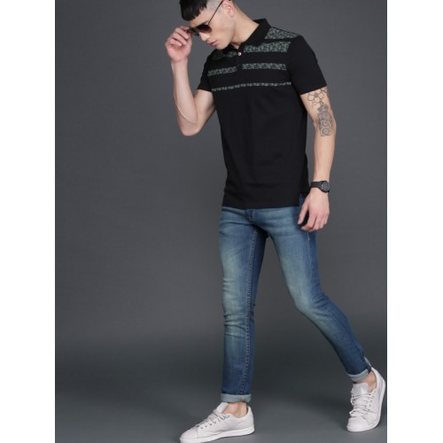 WROGN Black & Grey Striped Polo Collar T-Shirt