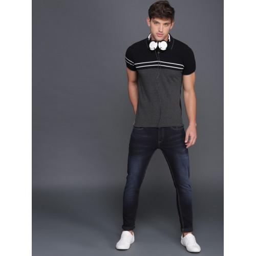 WROGN Black & Grey Colourblocked Polo Collar Slim Fit T-shirt