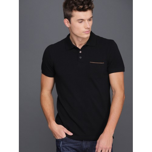 WROGN Black Solid Polo Collar Slim Fit T-shirt
