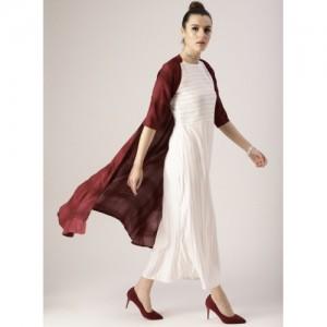 Libas White Striped Layered Maxi Dress