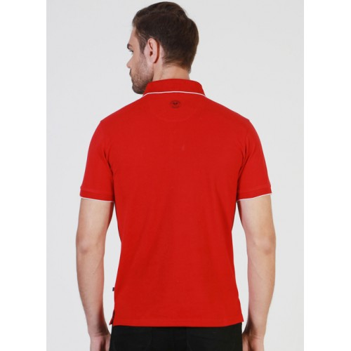 Solly Sport By Allen Solly Red Solid Polo Collar Slim Fit T-Shirt