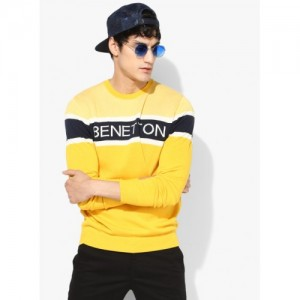 United Colors of Benetton Yellow Printed Sweater