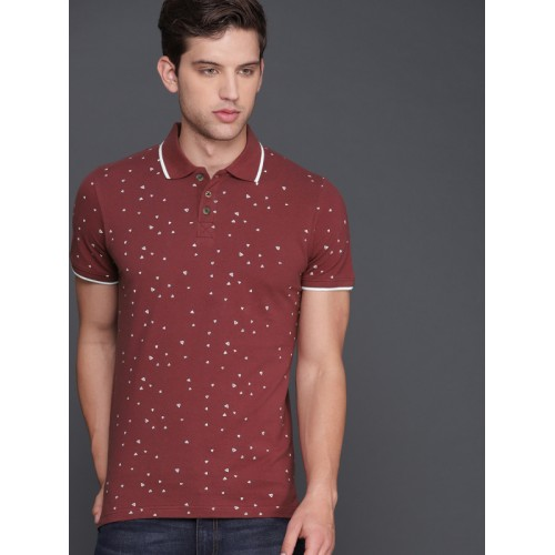 WROGN Men Maroon Cotton Printed Polo Collar Slim Fit T-shirt
