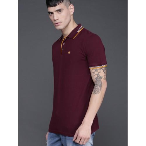 WROGN Maroon Solid Polo Collar T-shirt