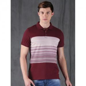 WROGN Maroon Striped Polo T-Shirt