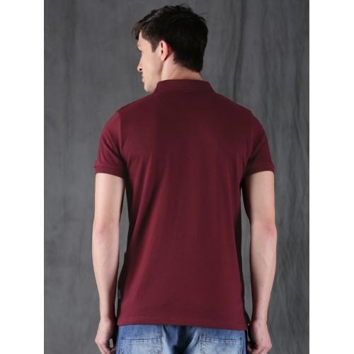 WROGN Maroon Striped Polo T-Shirt