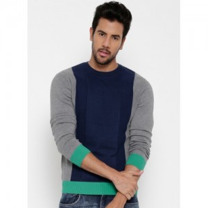 United Colors of Benetton Navy Colour Blocked Sweater