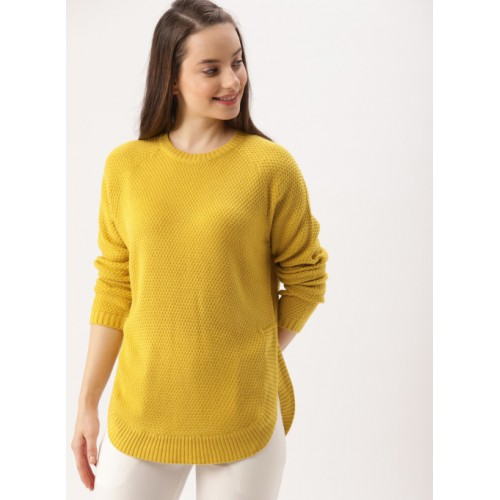 DressBerry Mustard Yellow Self-Design Pullover