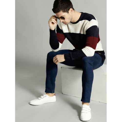 Roadster Men Cream-Coloured & Navy Blue Self-Striped Longline Pullover