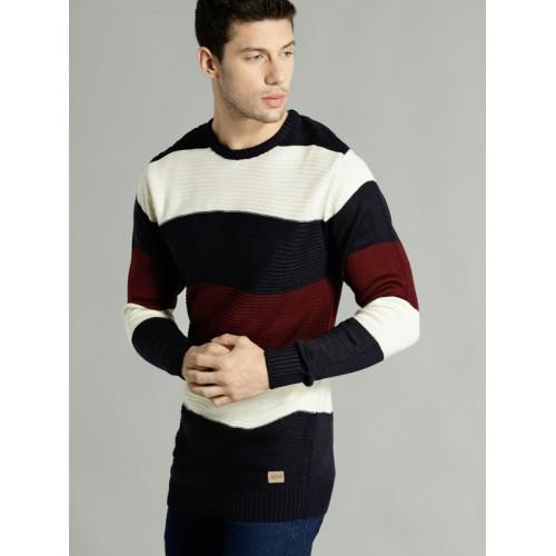 Roadster Men Cream-Coloured & Navy Blue Self-Striped Longline Pullover