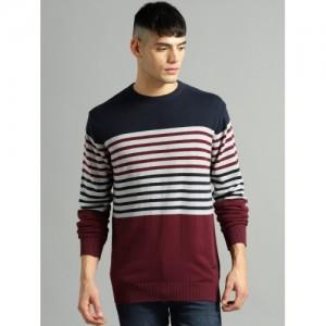 Roadster Men Maroon & Navy Blue Striped Pullover
