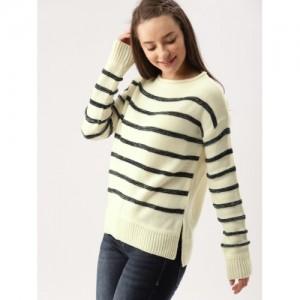 DressBerry Women Off-White & Navy Blue Striped Sweater