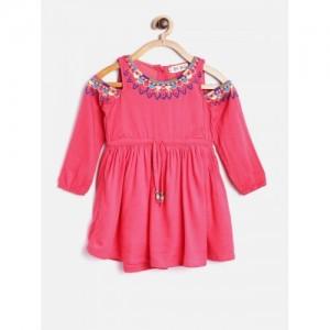 Bella Moda Pink Solid Cold Shoulder Fit & Flare Dress