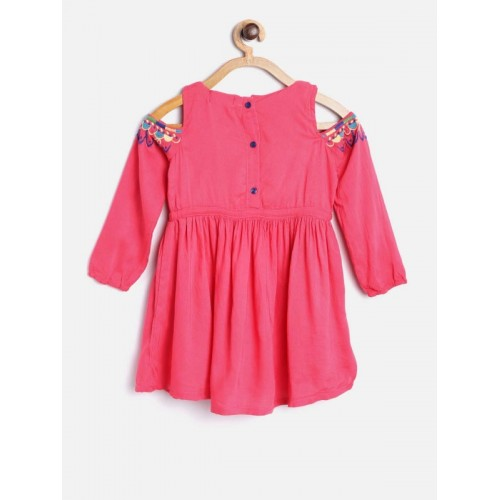 Bella Moda Pink Solid Cold Shoulder Fit & Flare Dress