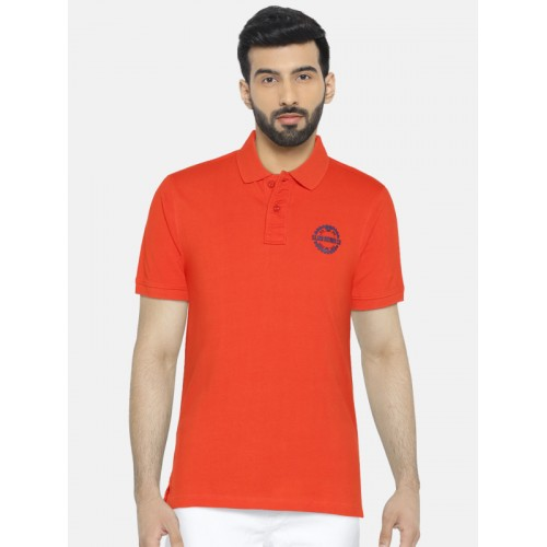 a51bc66699 Buy Slub Men Orange Slim Fit Solid Polo Collar T-shirt online ...