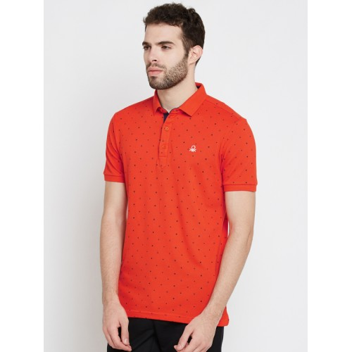 United Colors of Benetton Printed Men's Polo Neck Orange T-Shirt
