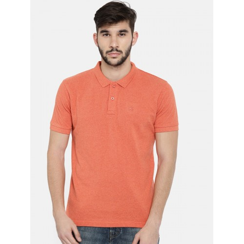 Wrangler Men Orange Solid Polo Collar T-shirt