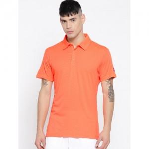 Adidas Men Neon Orange Climachill Polo Collar Tennis T-shirt