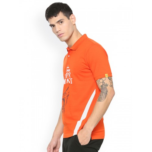 2a7dc27e ... Peter England Men Orange Chennai Super Kings Slim Fit T-shirt ...