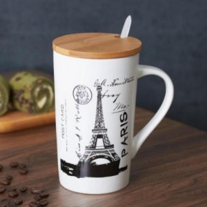 Satyam Kraft Ceramic City Design With Wooden Lid & Spoon Glass Mug