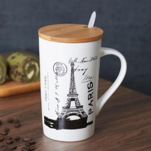 Satyam Kraft Ceramic City Design With Wooden Lid & Spoon Glass Mug