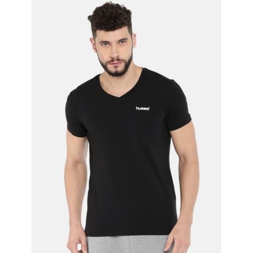 2c649824eb4a Buy hummel Men Black Solid V-Neck T-shirt online | Looksgud.in