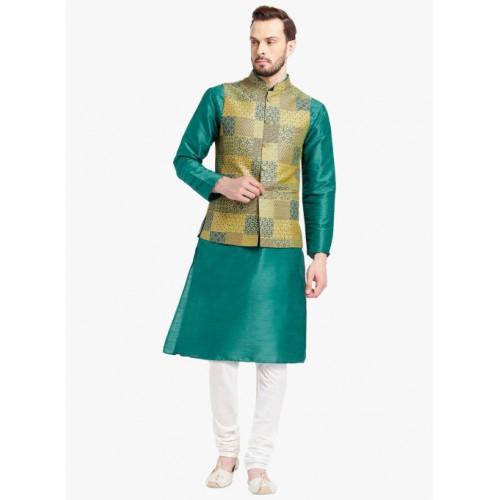 KISAH Teal Solid Kurta Pyjama With Ethnic Jacket