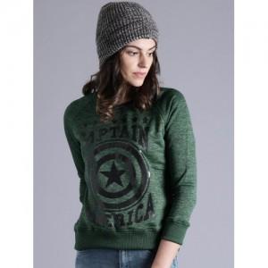 Kook N Keech Marvel Green & Black Polyester Printed Sweatshirt