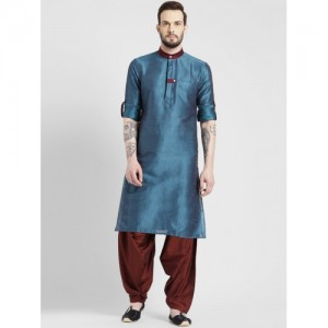 KISAH Men Teal Self Design Kurta with Patiala