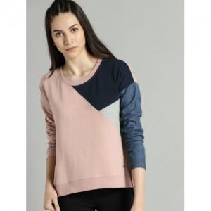 Roadster Pink & Navy Blue Cotton Colourblocked Sweatshirt