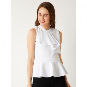 Miss Chase White Solid Peplum Top