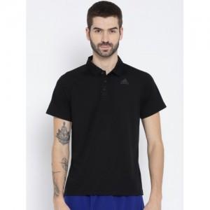 Adidas Men Black Solid Polo Collar T-shirt