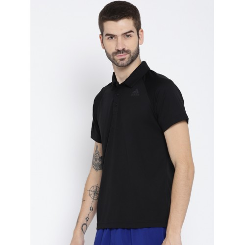 Adidas Men Black Solid Polo Collar T-shirt