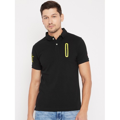 0894186a Buy Being Human Men Black Solid Polo Collar T-shirt online | Looksgud.in