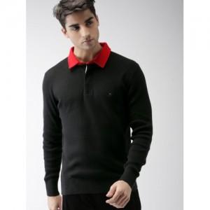 Tommy Hilfiger LEWIS HAMILTON Men Black Solid Polo Collar T-shirt