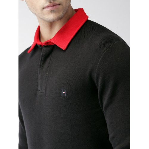 Tommy Hilfiger LEWIS HAMILTON Men Black Solid Polo Collar T-shirt