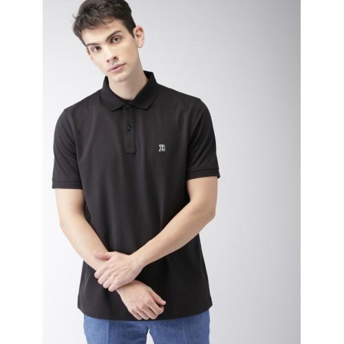 c27c2f5f4 ... Tommy Hilfiger LEWIS HAMILTON Men Black Solid Polo Collar T-shirt ...