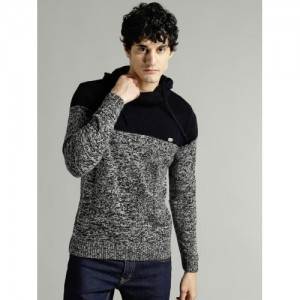 Roadster Grey & Navy Cotton Colourblocked Sweater