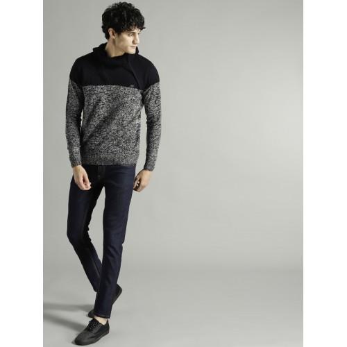 Roadster Grey & Navy Cotton Colourblocked Sweater