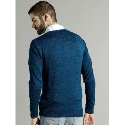 Roadster Men Teal Blue Self Design Houndstooth Pattern Pullover
