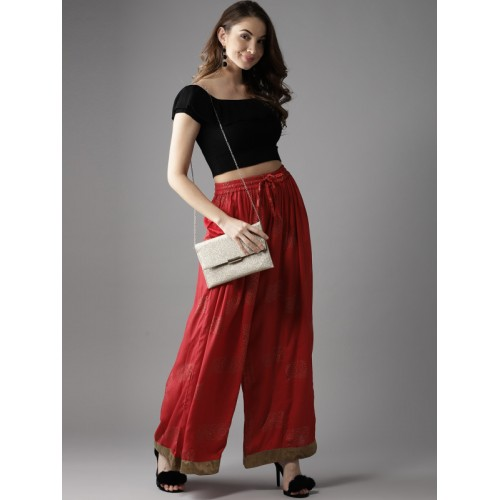 Moda Rapido Women Red & Golden Rayon Printed Flared Palazzos