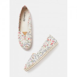 DressBerry Women Off-White Synthetic Floral Print Espadrilles